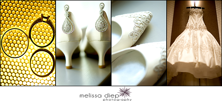 wedding details, rings, earrings, dress, shoes