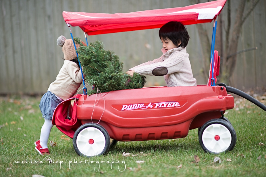 cute funny unique toddler baby holiday christmas photos radio flyer