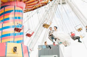 bride groom carnival swing navy pier