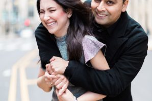 chicago couples engagement smiling having fun natural